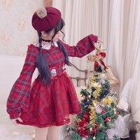 Princess sweet lolita dress Bobon21 made a small wish Christmas fashion and adorable Plaid Wool lace gauze thin dress D1567
