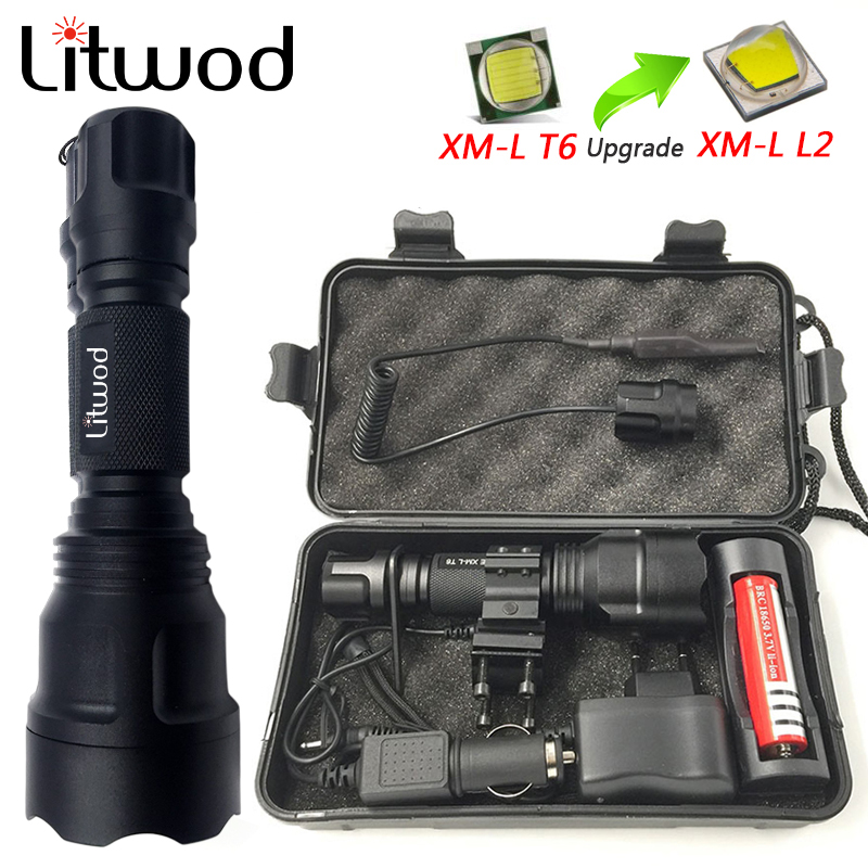 Litwod Z10C8 High Power Tactical LED Flashlight XM-L2 T6 U3 Self Defense Flashlight Torch Lanterna For Hunting Bike Light Lamp
