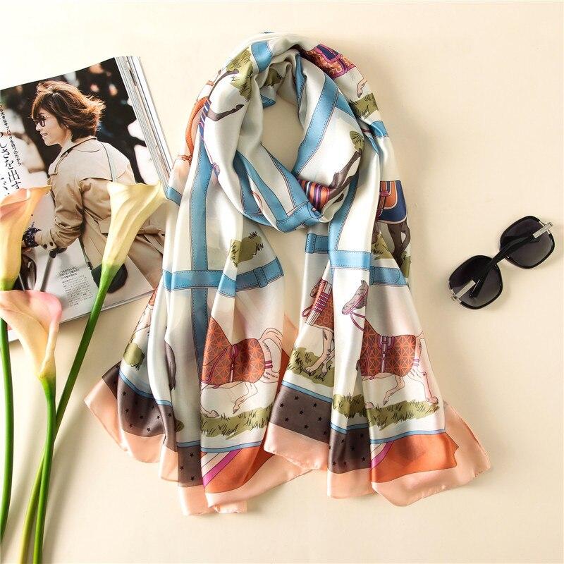2019 New Desigual Women horse scarf Fashion warm Plaid bandana Classic echarpe luxury brand carriage shawl silk Scarfs scarves