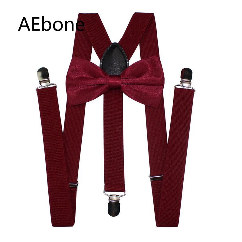 AEbone Suspensorio Adult Burgundy Suspenders And Bow Tie For Men Women Navy Blue Bretelles Pantalon Pour Homme Femme 100cm Sus59