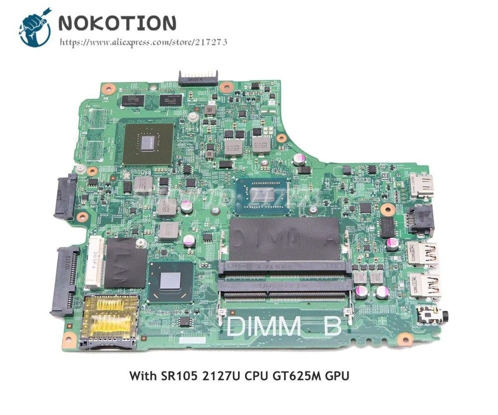 NOKOTION For Dell Inspiron 15R 3421 Laptop Motherboard 2127U CPU DDR3 GT625M Video card CN-0PFPW6 PFPW6 12204-1 PCB: 5J8Y4 nokotion laptop motherboard for dell inspiron n7010 mainboard ddr3 0gkh2c cn 0gkh2c gkh2c da0um9mb6d0 without graphics card