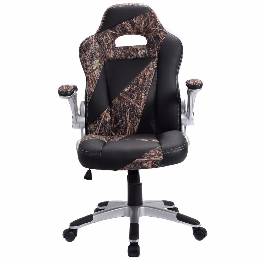 Goplus PU Leather High Back Executive Office Desk Task Computer Gaming Chair New Green Camo Home Office Furniture HW51844 new pu leather high back desk office chair executive ergonomic computer task hw50277