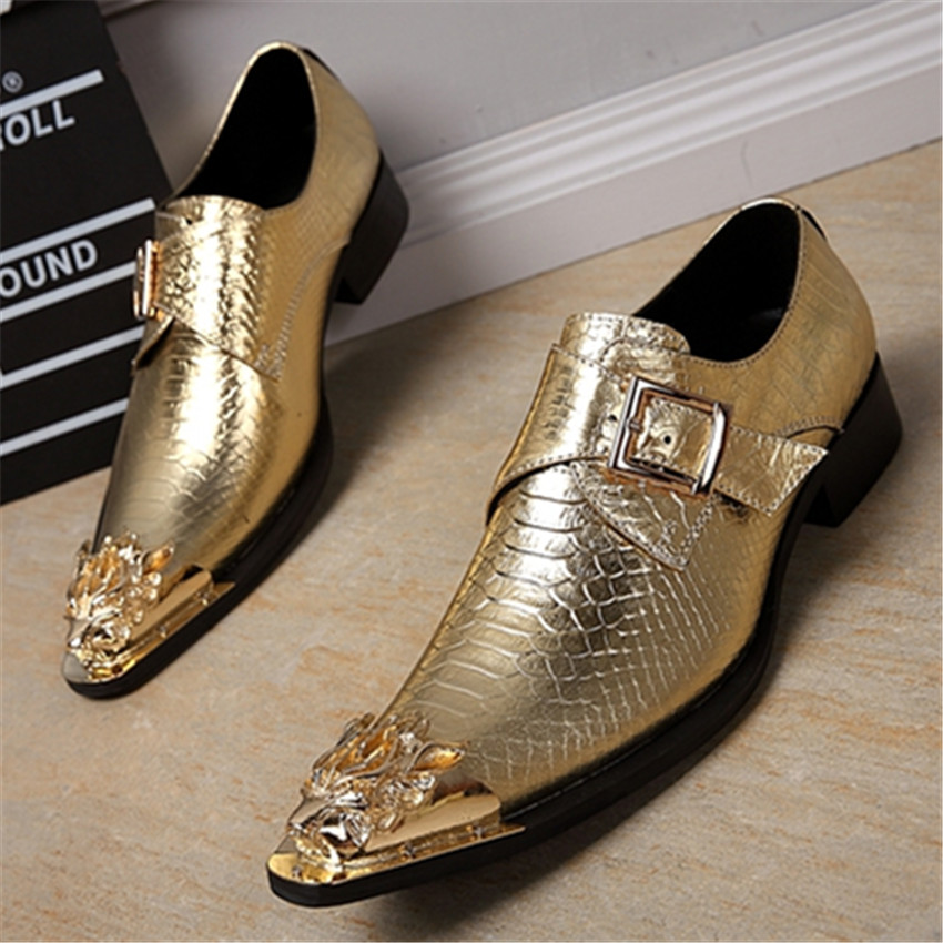 Buy new gold metal pointed toe men for Gold dress shoes for wedding