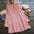 2015 мода 100% хлопок лен беременным платье Большой размер тонкие симпатичные проверить о-образным вырезом с длинными рукавами беременных женщин платья женская одежда