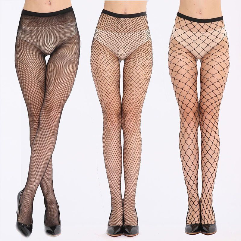 PUSEKY Women Fishnet Pattern Lady Nylon High Waist  Leggings Fish Net Hollow out  Female Mesh Black 2018