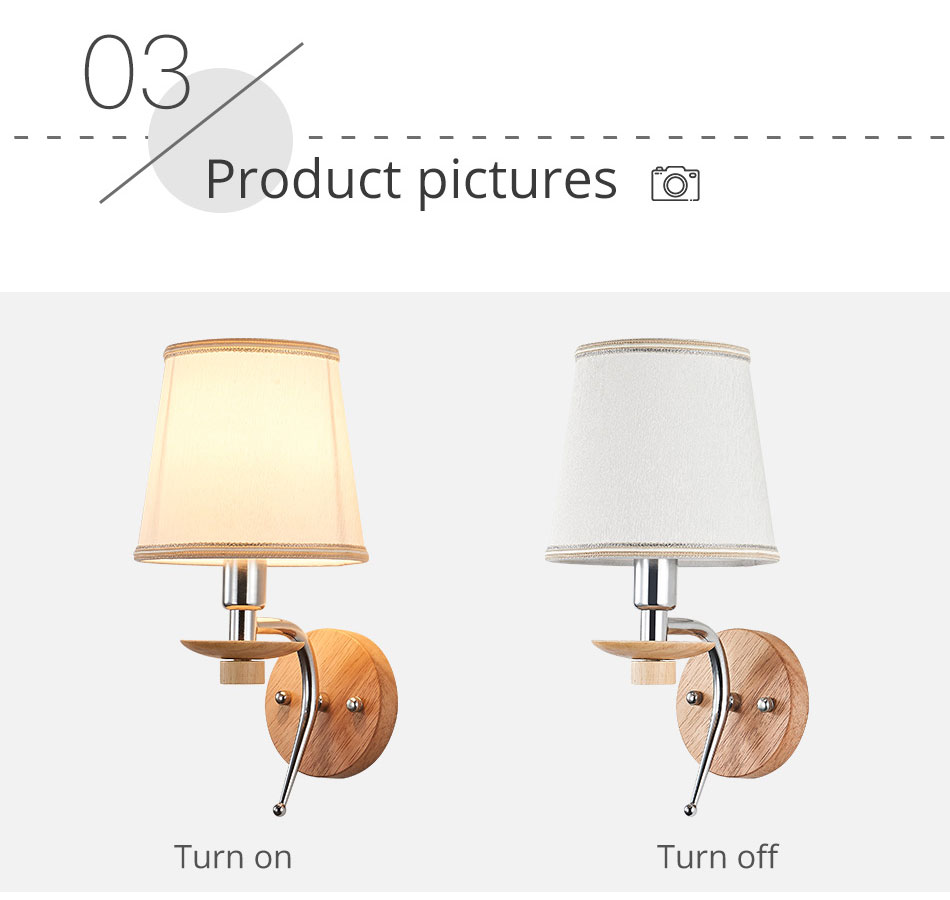 LED Bedside Wall Lamp E14 Bulb Fixtures Wood Aluminum Reading Light Fabric Glass wall Sconce Living Room Bedroom Indoor Lighting (9)