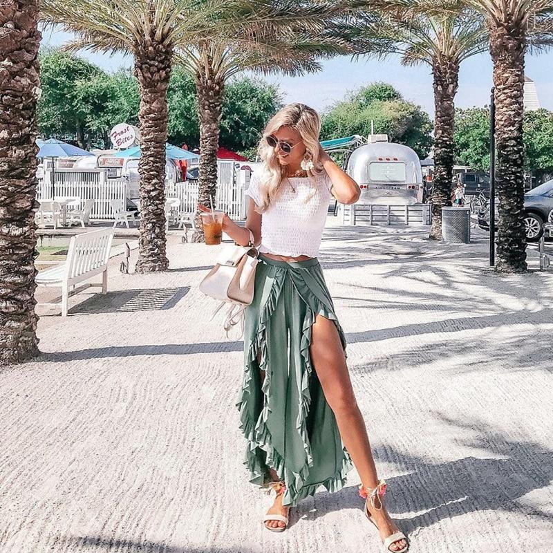 Fannic Sexy Ruffles Casual Women Pants Capri High Waist Baggy Split Summer Pants Female Ladies Wide Leg Trousers Bottom