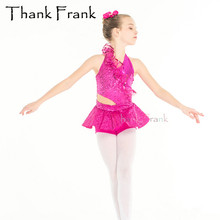 Rose Red Sequin Ballet Costume For Kids Adult Girls Women Backless Sexy Practice Dance