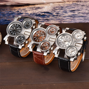 Image 3 - OULM 1167 Mens Vintage Steam Punk Leather Band Watches 3 Time Zone Japan MOVT Casual Quartz Watch