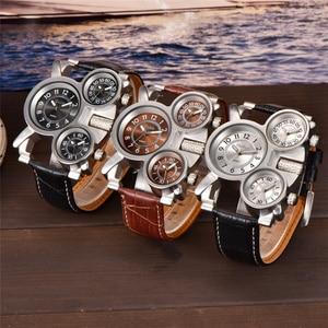 Image 3 - OULM montre à bracelet vapeur en cuir pour hommes, Vintage, 3 zones horaires, MOVT 1167, japon