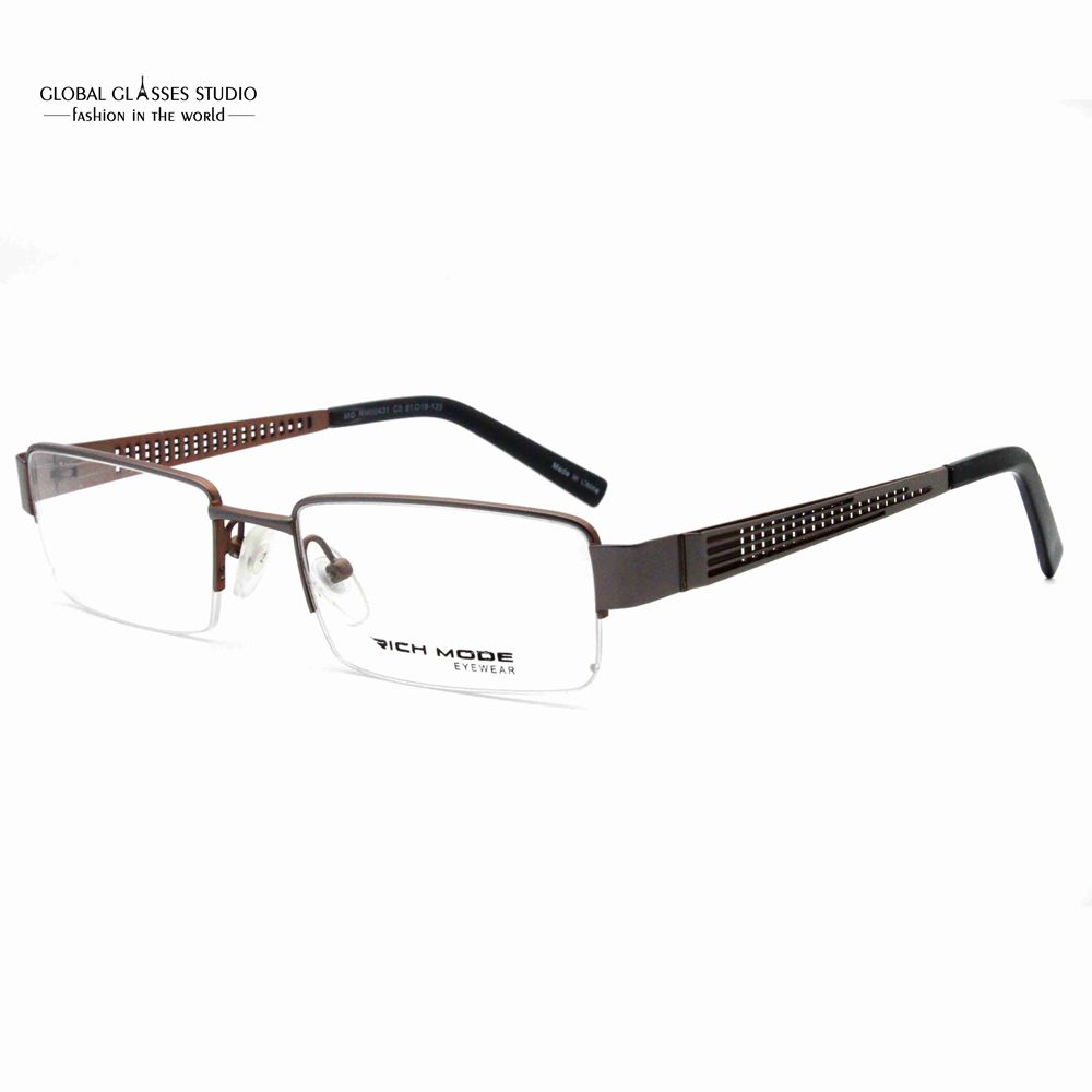 Rectangle Shape Half Rim Metal Eyeglasses Brown Color Hollow Temple Men Fresh Look Brand Design Frame RM00431-C3