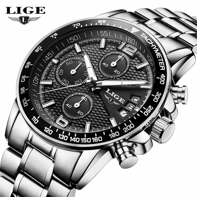 2017 LIGE Watches Men Luxury Brand Quartz Wrist Watch Male Sports Military Stainless steel band Watches Chronograph Clock man top brand luxury men watches 30m waterproof japan quartz sports watch men stainless steel clock male casual military wrist watch