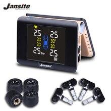 Jansite TPMS Araba Lastik Basıncı Izleme Akıllı Sistem Güneş Enerjisi Kablosuz LED Ekran ile 4 Dahili veya Harici Sensörlü
