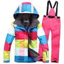 Freies verschiffen 2016 hohe qualität frauen skianzug sets wasserdicht winddicht winter ski jacke + Pants warm atmungsaktiv
