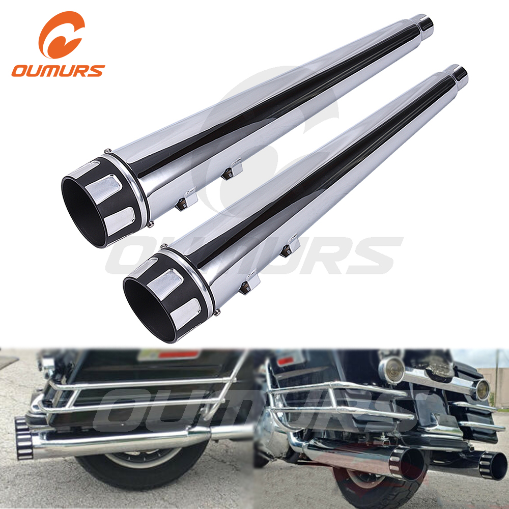 OUMURS Motorcycle Slip-On Muffler Exhaust Pipes Chrome 4
