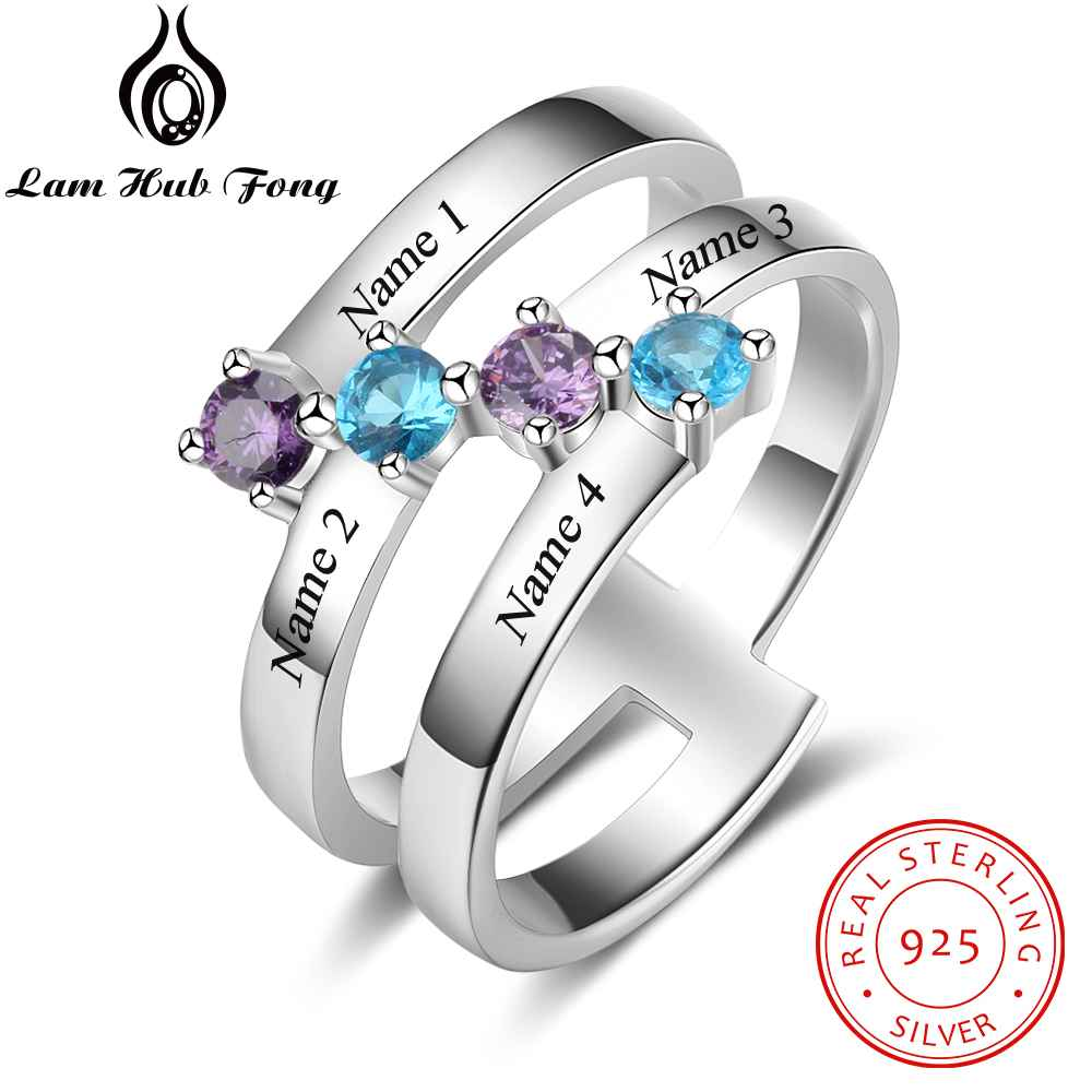 100% 925 Sterling Silver Rings For Women DIY Heart Birthstone Engraved Name Rings Gift Rings For Girls (Lam Hub Fong) клесен т проект дом с привидениями