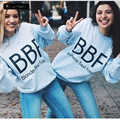 New Spring Autumn BBF Best Friend Print Sweatshirts Women Long Sleeve Crew Neck Tops Hoody Harajuku Girlfriends Sweatshirt H1218