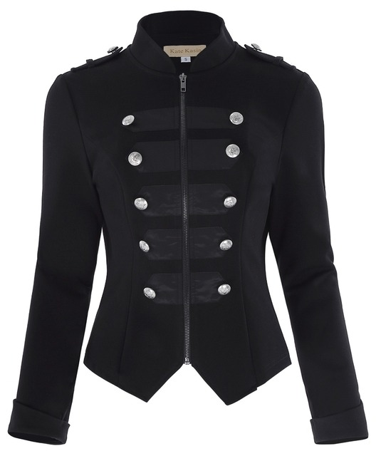 Victorian Gothic Buttons Decorated Zipper Front Military jacket Tops 2016 Tops Woman Black Long Sleeve Outerwear Coats