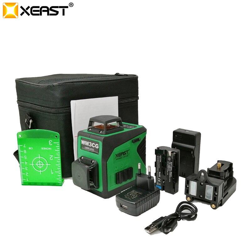 Xeast 2019 Professionelle 12 Linie 3D laser ebene 360 Vertikale Und Horizontale Selbst nivellierung Kreuz Linie 3D Laser Ebene grüne strahl