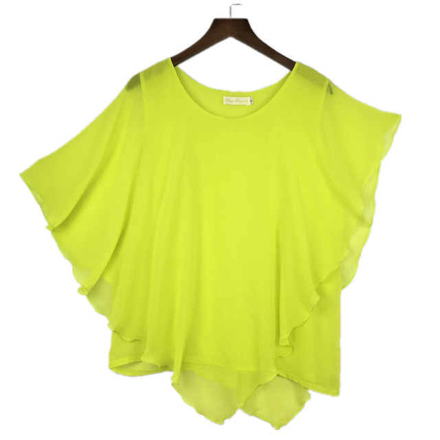 plus size S-4XL 5XL 6XL Summer Women Chiffon Blouses Bating Sleeve chiffon shirts blousas shirts,18 color vestidos casual shirts 5