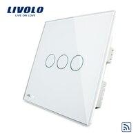 Free Shipping UK Standard VL C303R 61 Wholesaler Livolo Ivory White Crystal Glass Panel Wireless Remote