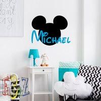 Personalized Name Wall Sticker Mickey Head DIY Kids Boys Bedroom Decoration Vinilos Art Name Decal Living Room Nursery NY-266