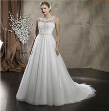 9053 2016 High Quality White or Ivory Wedding Dresses Lace up Back Bridal Gowns Women Vestidos
