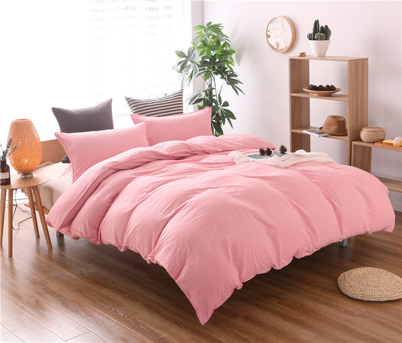 Solid Color Bedding set Pink Grey Duvet Cover set doona qulit covers bedspread Super California King Queen size Full twin 3PCS