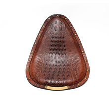 Motorcycle Retro Crocodile PU Leather Solo Rivet Seat Brown for Honda Yamaha Harley Custom Chopper Bobber Saddle