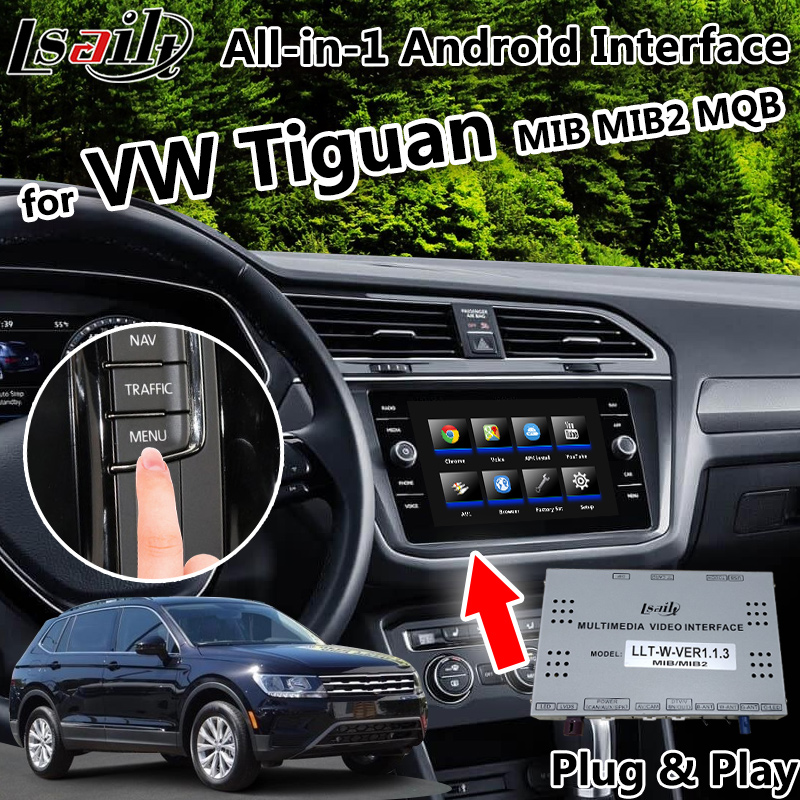 Android 7.1 Navigation GPS pour Volkswagen Tiguan Sharan Magton MIB MQB interface intégrée support téléphone mirrorlink