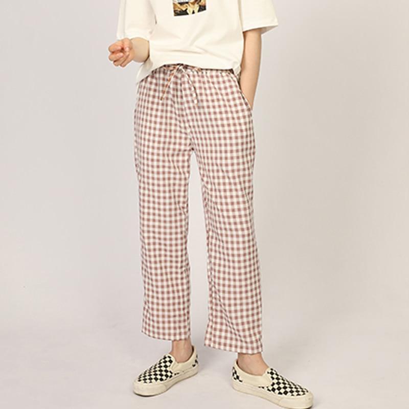 Cotton Home Pants Women Pajamas Pants Comfortable Sleep Bottoms Plaid Lounge Trousers Casual Sleepwear
