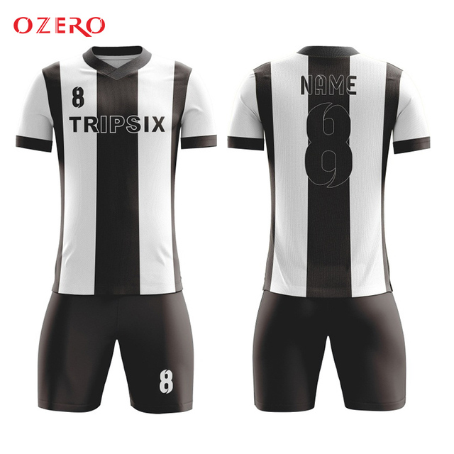 f8bdf1fe9 black and white stripes 100% polyester fully sublimation custom soccer  jersey