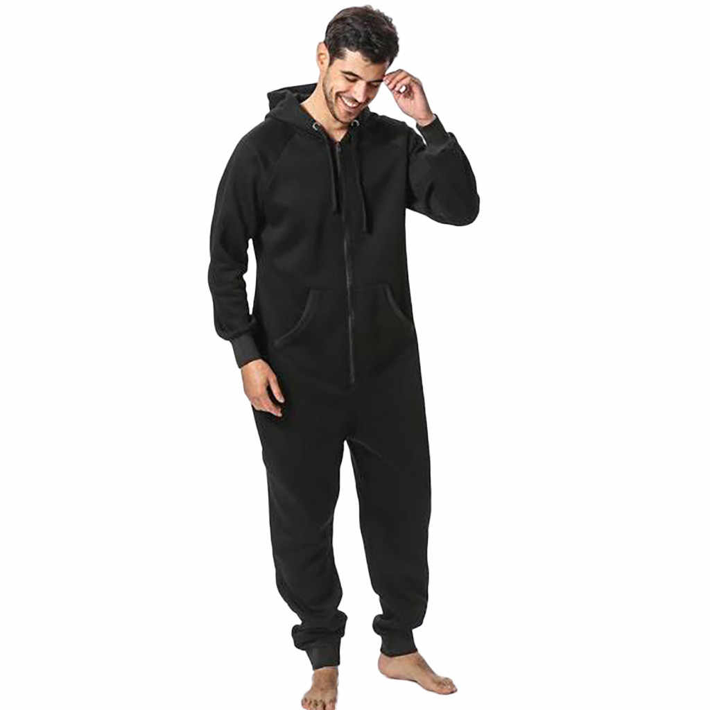 Men's Fashion Onesies For Adults Men Jumpsuit Long Sleeve Pockets Hooded Zipper Pajamas Sweatshirt Tracksuit pijama hombre 2019