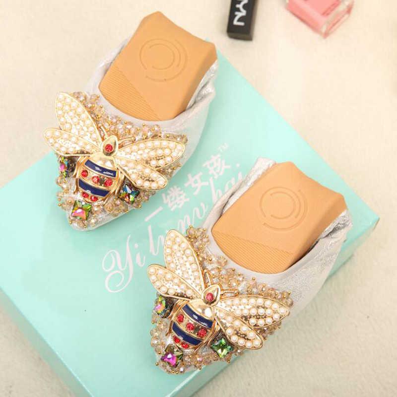 Плюс Размеры с украшением в виде кристаллов; женская обувь на плоской подошве; элегантная и удобная женская обувь модная обувь на подъеме со стразами Для женщин Мягкий необычные туфли балетки; zapatos mujer; c430