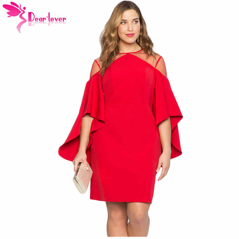 Dear Lover Autumn 2018 Party Black Red Mesh Illusion Cold Shoulder Bell  Sleeve Plus Size Dress 9243d5894f71
