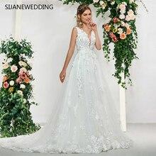 SIJANEWEDDING Sleeveless A-line Wedding Dresses V-Neck