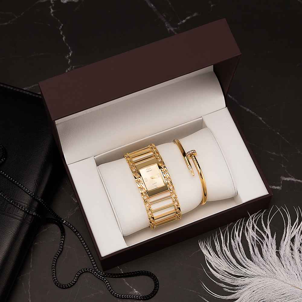 Women's Gold Watches 3 PCS Ladies' Square Wristwatches With Fashion Stainless Steel Bracelet Set Big Gift Watch Box For Gift