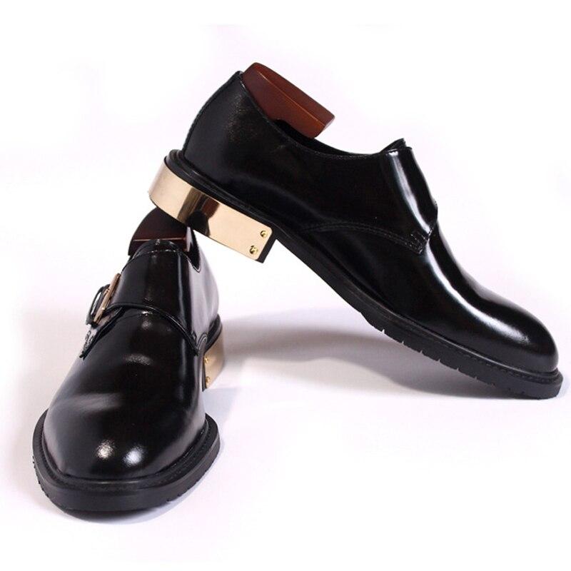 Clássico cavalheiro sapatos masculinos de alta qualidade puro preto metal calcanhar fivela passeio sapatos de couro dos homens vestido sapatos