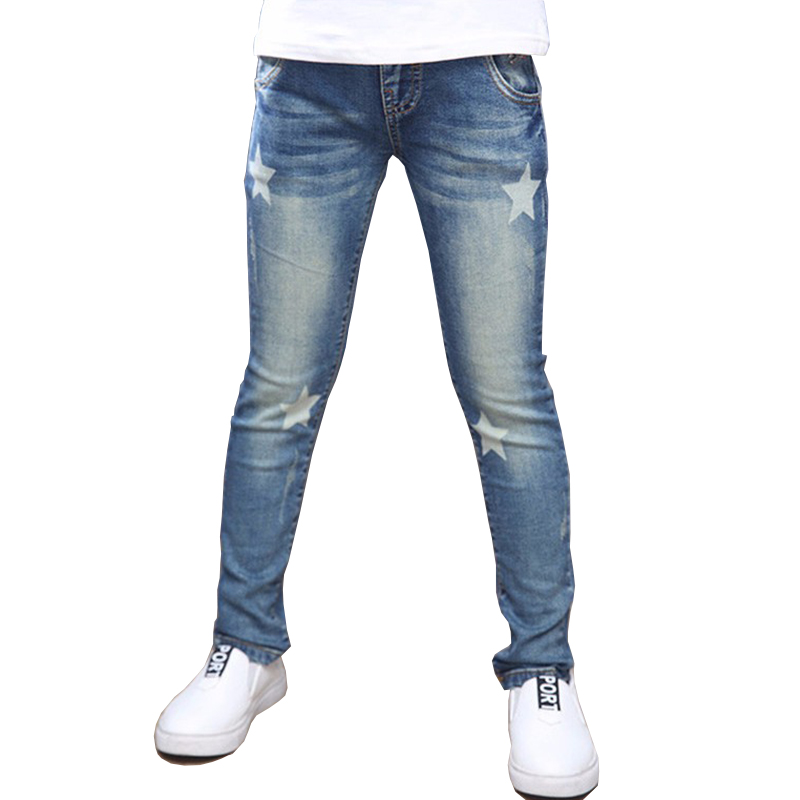 Tribros Autumn Winter Style Children Kids Jeans Fashion Elastic Waist Straight Star Pattern Denim Pants Jeans