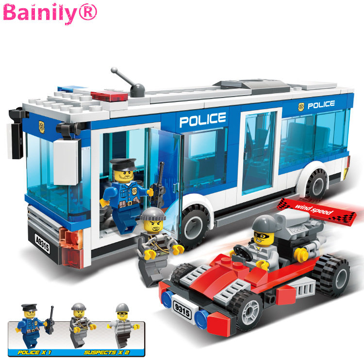 [Bainily]256Pcs Police Station Building Blocks Bricks Educational Toys Birthday Gift Toy For boy Compatible with LegoINGlys city 407pcs sets city police station building blocks bricks educational boys diy toys birthday brinquedos christmas gift toy