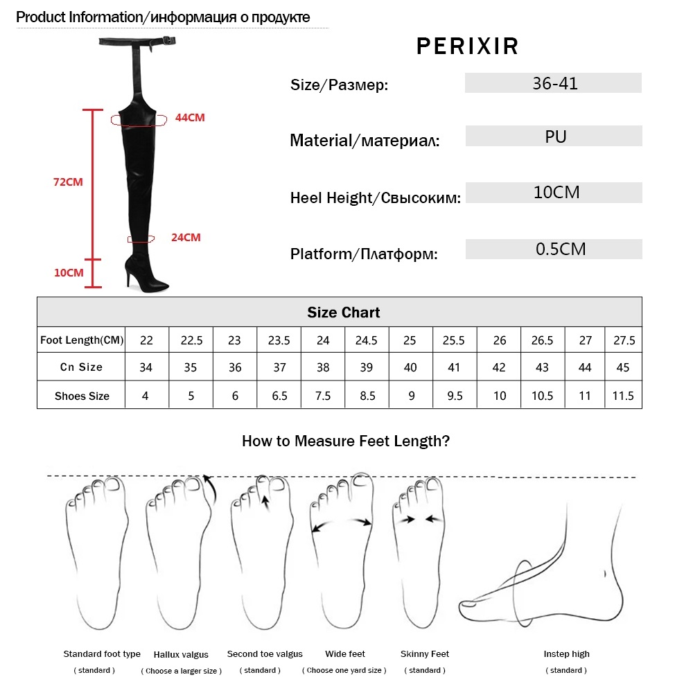 Image 5 - Perixir Women PU Over Knee Boots High Boots Rihanna Style Over the Knee Boots for Women Shoes Pointed Toe 10 cm High Heels Boots-in Over-the-Knee Boots from Shoes