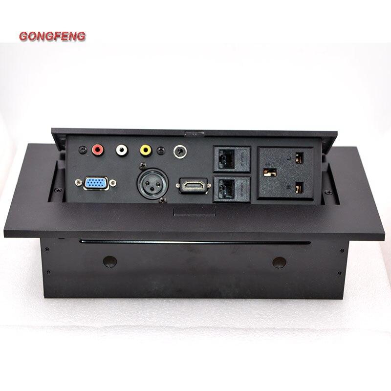 GONGFENG nouveau noir argent K224 prise de bureau multimédia panneau Microphone Vga prise UK Standard prise d'alimentation spécial en gros