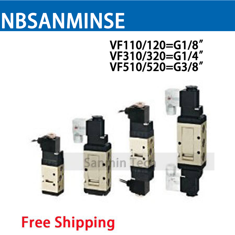 VF Series 1/8 1/4 3/8 G Type Solenoid Valve Pneumatic Valve Air Control Valve Single Coil Double Coil Electro Valve Sanmin 3 8 vf 3 position 5 way pilot operated type close centre lead wire 300mm loking type b pneumatic solenoid valve coil 220v