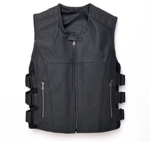 Free shipping,Genuine leather men vest.motorbiker men's vests,skull sleeveless cow leather jacket Brand sales