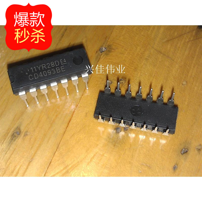10PCS New CD4093 <font><b>CD4093BE</b></font> DIP-14 with non- trigger logic gates and inverters image