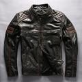 2016 hombres del estilo harley motocicleta moto chaqueta de cuero negro moda hombres chaqueta de motociclista con equipo de protección de cuero hombres de la capa
