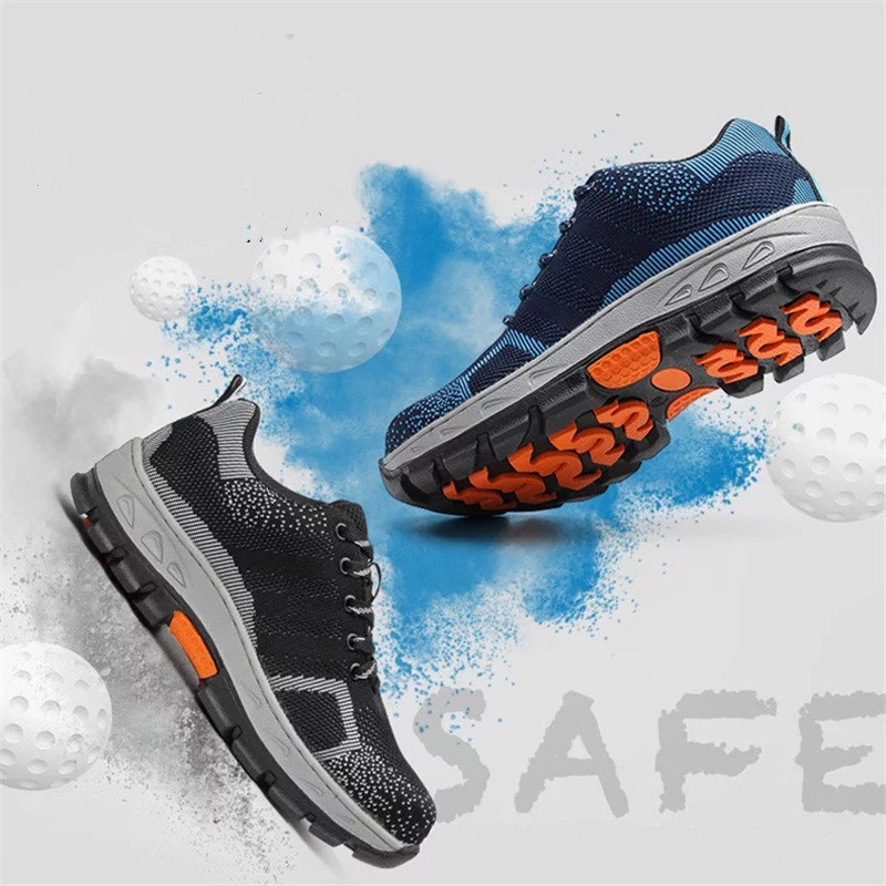 2019 New men's puncture prevention Work Shoes Men Fahion Mesh Breathable Steel Toe Casual Boots Labor Insurance Mens Safety Shoe(China)