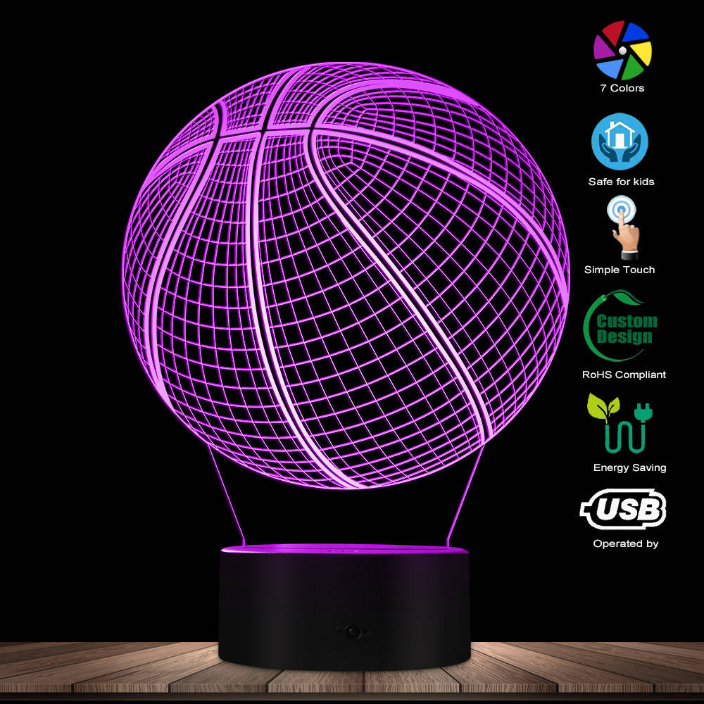 3D Basketball Optical Illusion Lighting Art LED Light Lamp Sculpture Night Lights Sports Ball 3D Visual Lamp Gift For Athlete