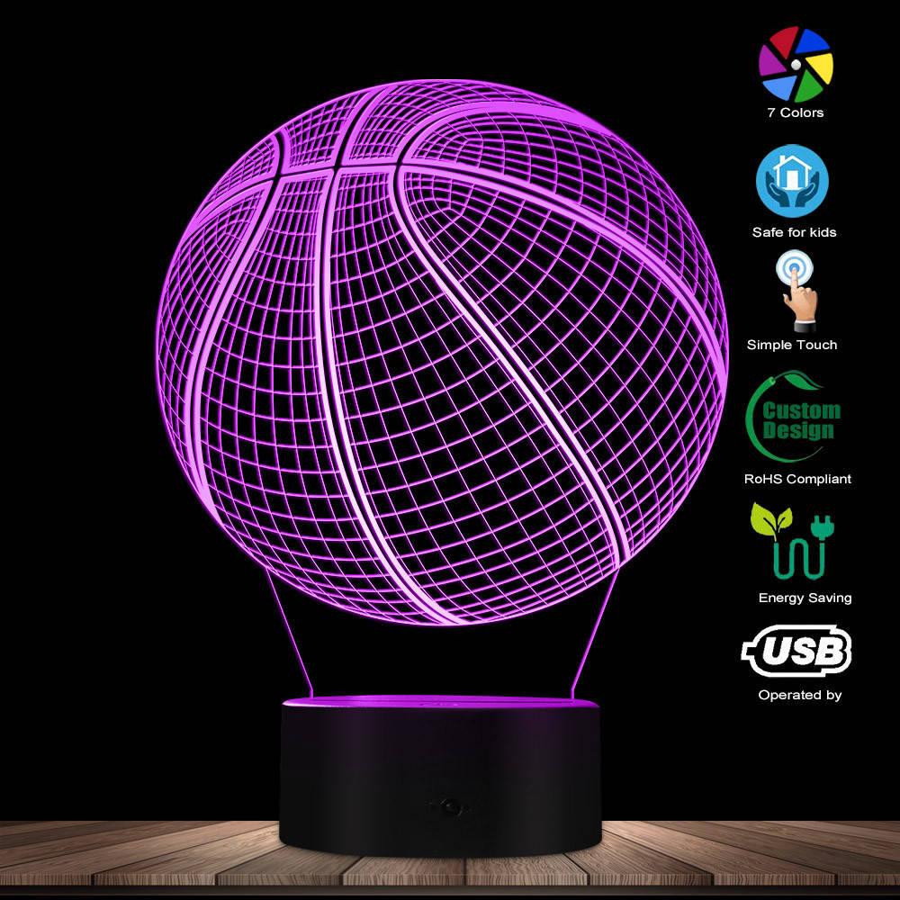 3D Basketball Optical Illusion Lighting Art LED Light Lamp Sculpture Night Lights Sports Ball 3D Visual Lamp Gift For Athlete