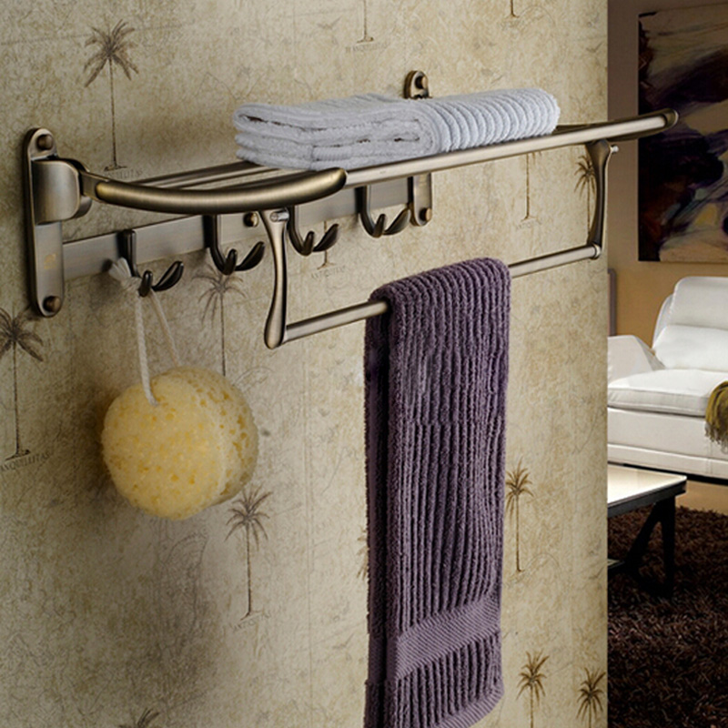Hot Sale Wholdsale And Retail Promotion Luxury Antique Brass Bathroom Shelf Towel Rack Holder With Towel Bar Hook Hanger free shipping wholesale and retail promotion crystal bathroom towel rack holder antique brass ceramic base towel ring holder